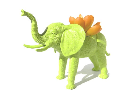 Elephant Planter Green Great Dorm, Nursery, Decor or Baby Shower Gift Ready to Plant