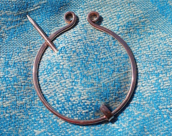 Larger Sweater Clip Shawl Pin Brooch, Curlicue Copper Penannular, Celtic Style
