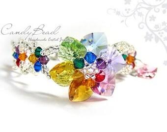 Rainbow bracelet; crystal bracelet; Swarovski bracelet; Glass bracelet;Sparkling Rainbow Flower Swarovski Crystal Bracelet
