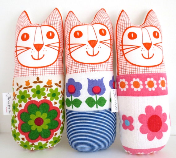 Original Scandinavian style 70s fabric handmade cat toy plush softie by Jane Foster