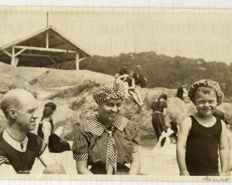Antique Snapshot of a Family at the Beach Great Bathing Costumes 1910s