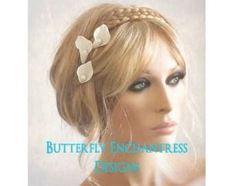 Bridal Hair Accessories, Wedding Hair Flowers, Wedding Hairpins, Creamy White Calla Lily Bridal Hair Pins