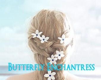 Something Blue Hair Flowers, Beach Wedding Hair Accessories, Bridal Hair - 6 Creamy White Stephanotis Hair Pins - Dk Blue Rhinestone Centers