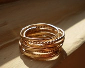 Two of Each - Simply Golden Rustic 14K Gold Filled Stacking Rings - Custom Set of 10