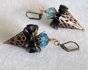 Antique Copper Black Lucite Ruffled Flower Bouquet Crystal Dangle Earrings