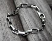 Sterling Silver Box Chain Rocker Bracelet Heavy Solid Sterling  - Rock On
