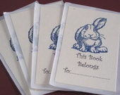 Set of 4  Long Eared Rabbit Bookplates