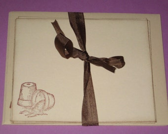 Set of 4 Note Cards and Envelopes Garden Pots