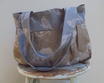 Brown Blue Purse - Camelias Birds Linen Key Fob 3 Pockets
