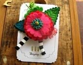 Pink Anemone Flower Brooch