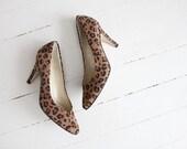 vintage leopard heels / leopard print heels / leopard heels size 6 - allencompany