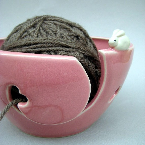 Heart Bunnies Yarn Bowl, Knitting Bowl - Carnation Pink - Handmade Stoneware Pottery