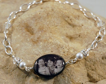 Simple Double-sided Mother of Pearl Custom Photo Bracelet