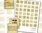 Beautiful Words inchies digital collage sheet 1x1 inch square 43 words from vintage dictionary