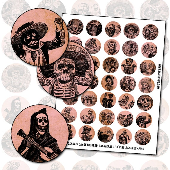 Day of the Dead Calavera Pink  1.313 inch 34 mm circle digital collage sheet pinback button
