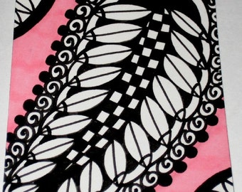 Original Drawing ACEO  Black and White and Pink Design