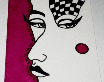 Original Drawing ACEO  Black and White and Magenta Face Design
