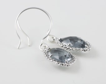 Charcoal Glass Earrings With A Shiny Silver Tone Chain Frame