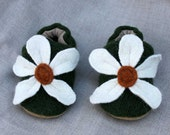 White Blossom Wool Baby Slippers Choose Size ( 0-6 mos. or 6-12 mos.)  made from recycled materials