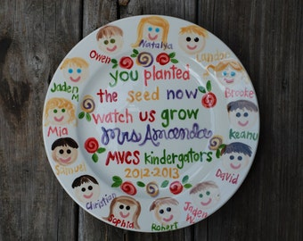 Teacher gift  Plate Personalized and customized with Class Faces GREAT TEACHER GIFT personalized