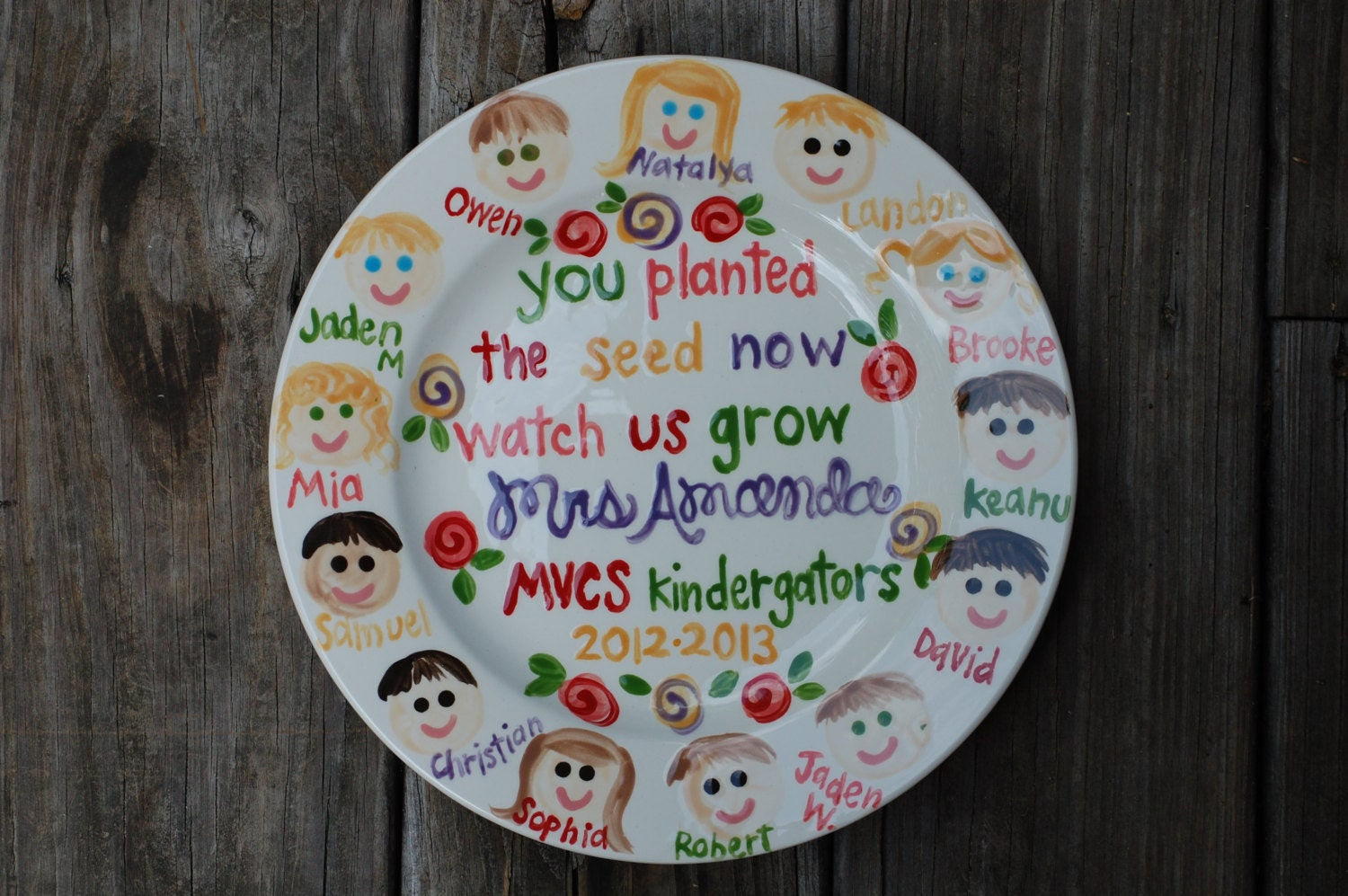 Teacher gift Plate Personalized and customized with Class