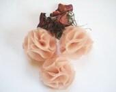 3 -  Pom Pom Dusty Rose Pink Fabric Flowers  - Headbands, Wreaths, Weddings, Embellishments, Ect.