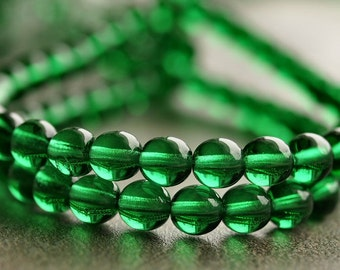 Emerald Green Czech Glass Bead 6mm Round Druk : 50 pc