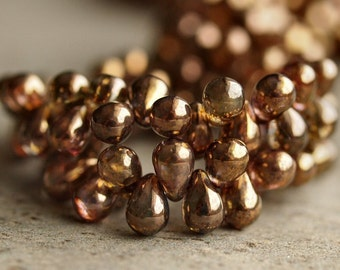 Czech Glass Bead Transparent Gold Smoky Topaz 4x6mm Tear Drop :  50 pc