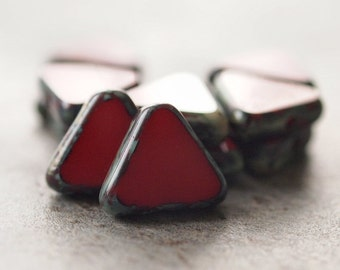 Red Picasso Czech Glass Bead 12mm Triangle :  12 pc