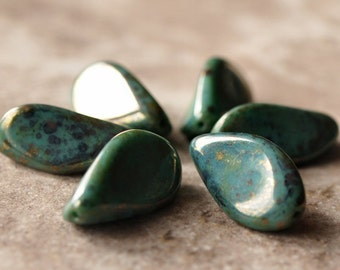 Twisted Turquoise Bronze Picasso 24mm Czech Glass Bead : 6 pc Turquoise Bronze Bead