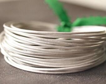Round Leather .5mm Fine Cord Metallic Pearl : 15 Feet Genuine Leather Cord