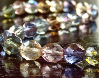 8mm Czech Glass Bead Faceted Round Luster Mix : 25 pc Strand
