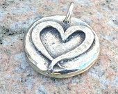 Open Heart Pendant, Ribbon Heart Charm, Love Pendant, Valentine Gift, Rustic Jewelry