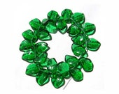 Dark Green Leaf Beads Glass Czech 14mm Top Horizontal Hole
