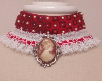 Upcycled Romantic Cameo Satin Brocade Choker/Fetish Choker/Steampunk Victorian Necklace