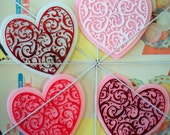 Kitschy / Heart Plaques / Plastic Cake Toppers /  Set of Four / Valentine's Day