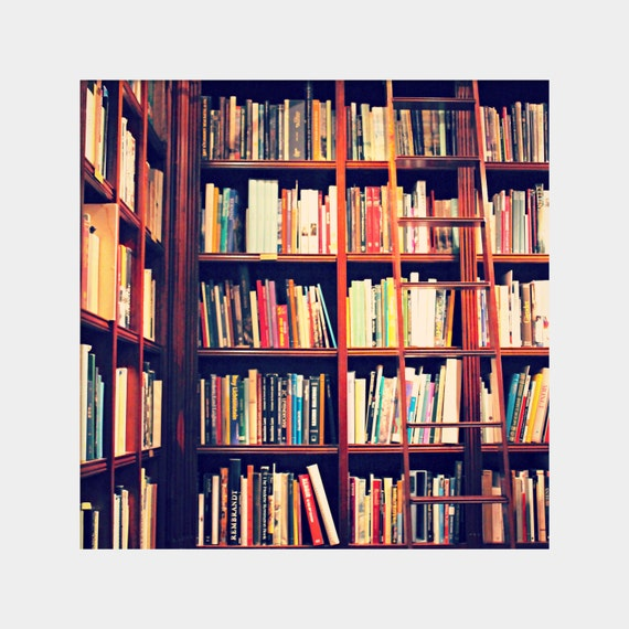 Dream Library: square fine art photograph print with books, bookshelves, ladder (colorful home library decor)