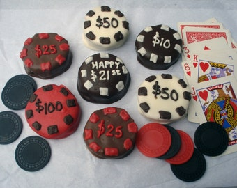 Cake Balls: Poker Chip Bitty Bite Cake Balls. Father's Day gift. 21st Birthday gift idea. Graduation gift. birthday gift