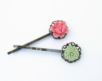 Pink and Green Flower Hairpins BobbyPin bridesmaid Set Wedding, Gift for Her Jewelry