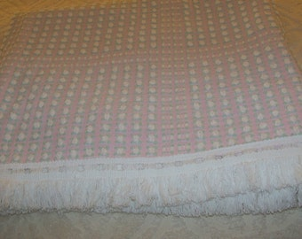 Morgan Jones White Rosebuds on Pink Chenille Bedspread Rare Beautiful HTF Made In USA