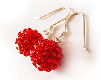 Red Berry Beaded Dangle Earrings with Sterling Silver Hoops
