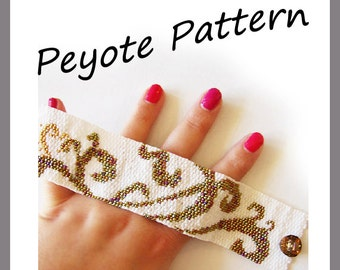 Tattoo Swirls Peyote Pattern Bracelet - For Personal Use Only PDF Tutorial