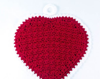 Crochet Heart Potholder, Trivet, HotPad, Doily for the Kitchen, in Red and White. Gifts for Her, Mothers Day