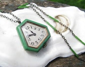 RESERVED, Art Deco Watch and Enamel Chain, Beautiful Green and Black Enameling, Juvenia, 25 inch Silver and Enamel Chain