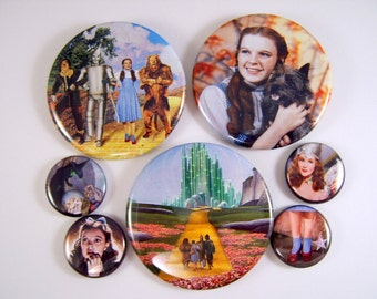 """Wizard of Oz Pins, 1"""" and 2.25"""" Size Pinback Buttons"""