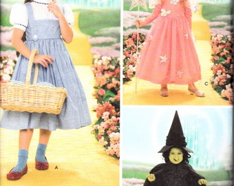 Simplicity Pattern 4139 Girls Wizard of Oz Dorothy Good Witch Bad Witch Costumes Sizes 3-8 New and uncut