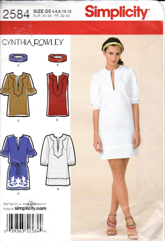 Cynthia Rowley dress or tunic pattern - Simplicity 2594