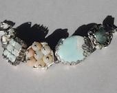 Bracelet, Original, Tiffany technique, mix of aqua tints amazonite, white turquoise and moss agate, 8 and half in long. Karolina Stachowicz.