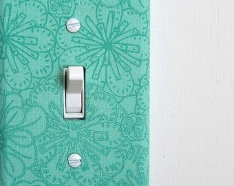 Light Switch Plate Cover, wall decor - aqua teal with modern floral pattern