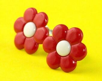 Cute Retro Flower Stud Earrings - Red Ear Posts